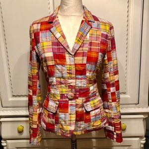 Vintage J. Crew Plaid Cotton Blazer Size 4